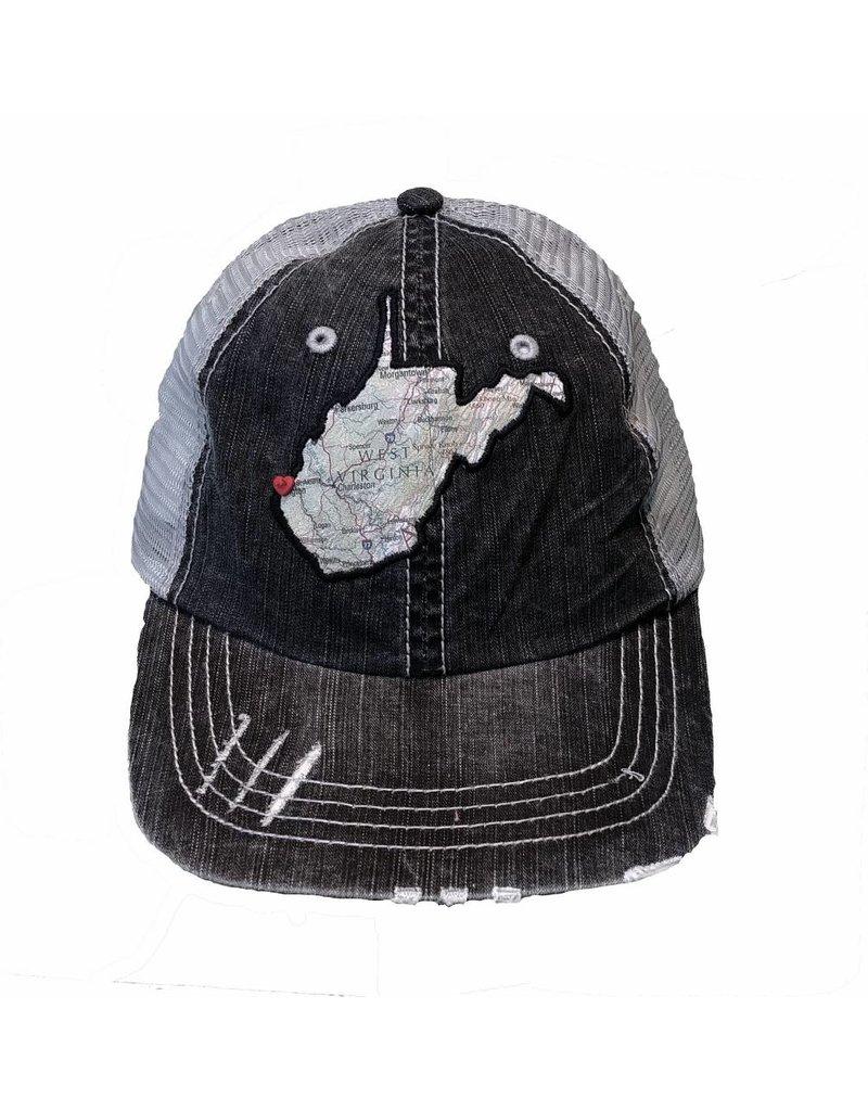 WV Map Black Distressed Trucker Cap