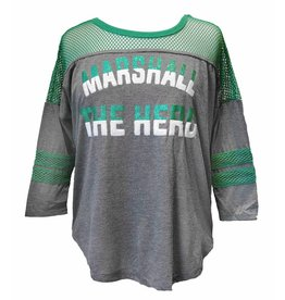 Marshall Fishnet Glitter Oversized 3/4 Sleeve Tee