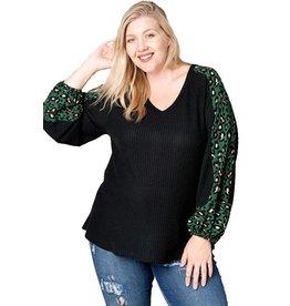 Green Leopard Waffle Knit Top-Plus