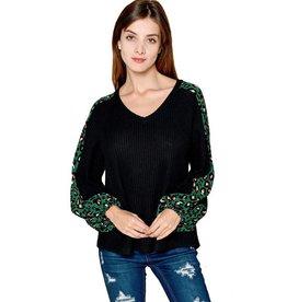 Green Leopard Waffle Knit Top