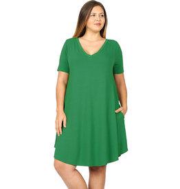 V-Neck Tunic Dress-Plus