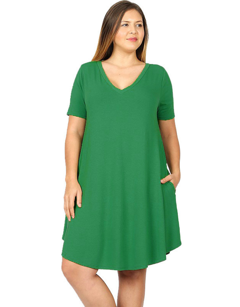 V-Neck Tunic Dress-Plus