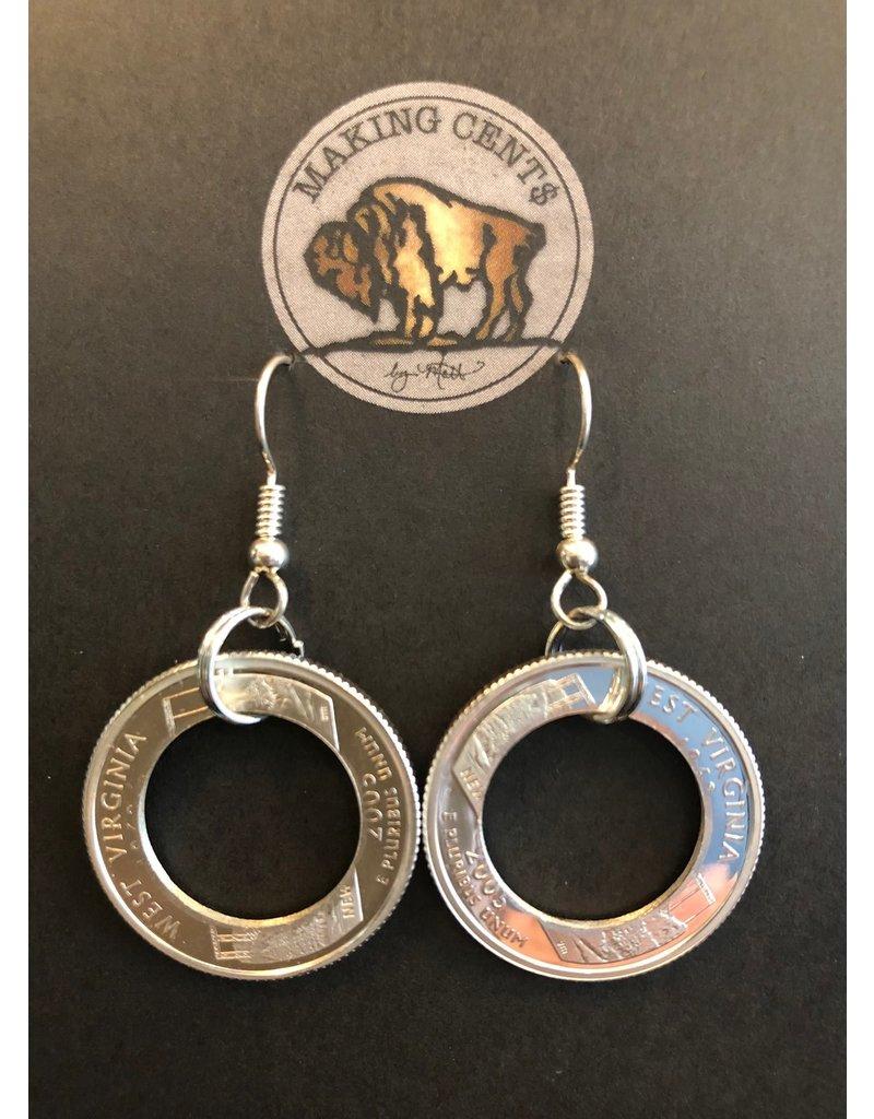 Making Cent$ WV Quarter Outer Ring Earrings- Silver