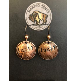 Making Cent$ Stamped Lucky Penny Earrings