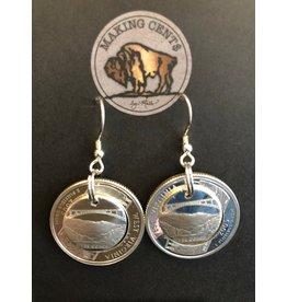 Making Cent$ WV Quarter Dimensional Silver Earrings