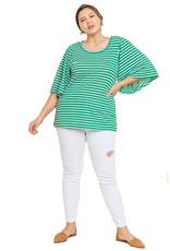 Umgee Bell Sleeve Stripe Top