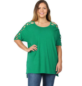 Cross Shoulder Tee-Plus