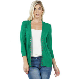 Three Quarter Sleeve Snap Cardigan