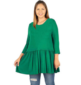 Long Sleeve Peplum Tee-Plus