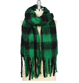 Ben's Wholesale Green Buffalo Check Fringed Scarf