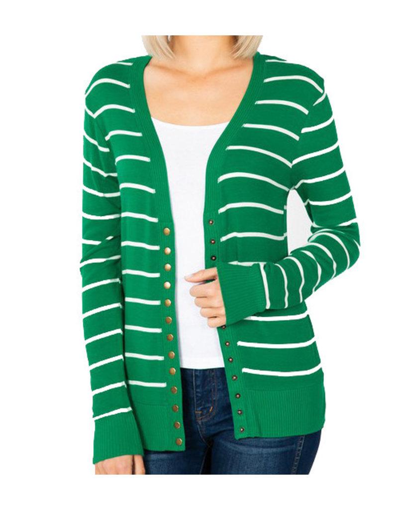 Fine Knit Stripe Cardigan