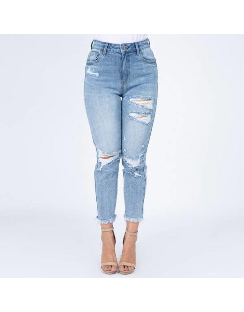 Distressed High Waist Jeans-Plus