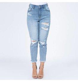 Distressed High-Waist Jean