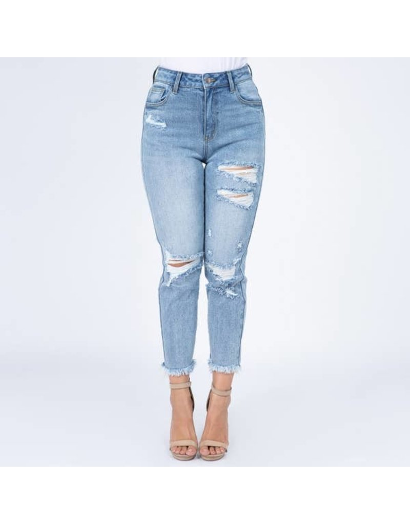 Distressed High-Waist Jean