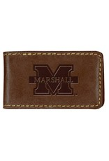 Marshall University Leather Money Clip-Coffee Brown