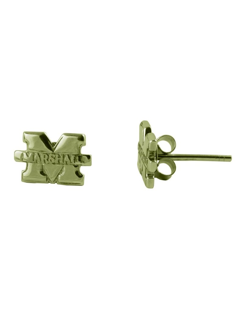 "Marshall University ""M"" Gold Plated Stud Earring"