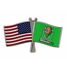 Marshall University/USA Crossed Flag Lapel Pin