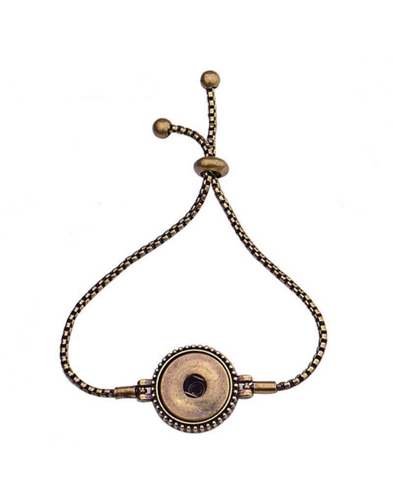 Adjustable Slider Snap Bracelet Antique Finish
