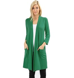 Stretch 3/4 Sleeve Long Cardigan