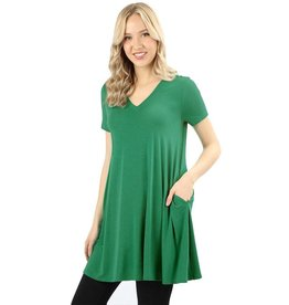 Short Sleeve Pocket V-Neck Tunic