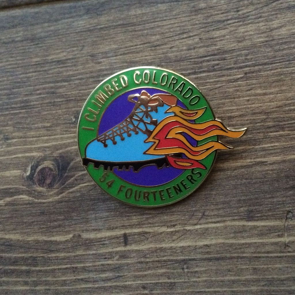 TOPP I Climbed Colorado 54 Fourteeners Flaming Boot Pin