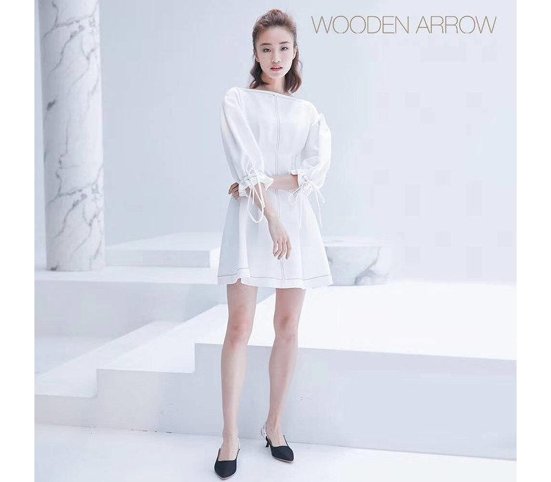 WOODEN ARROW WHITE LONG DRESS(M)
