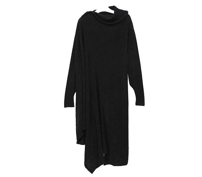 12 BLACK HIGH COLLAR SWEATER LONG DRESS