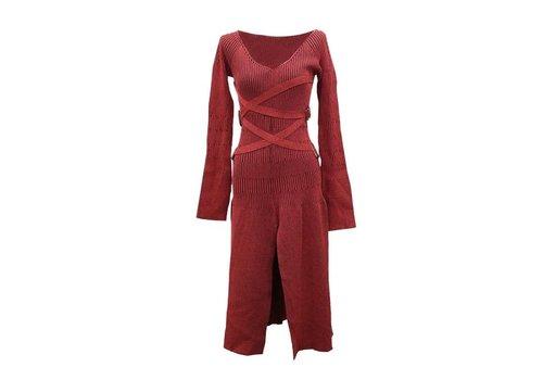 DESIGNER RED LONG  SWEATER DRESS