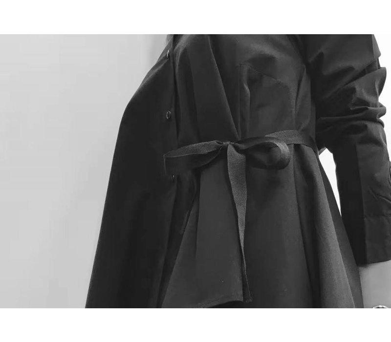 BLACK SHIRT WITH DRAPE