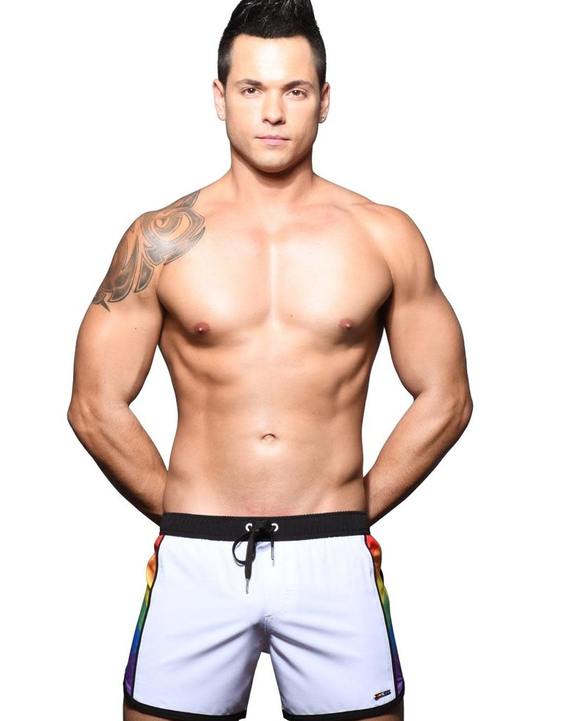 Andrew Christian Pride Active Swim Shorts w/Rainbow Charm