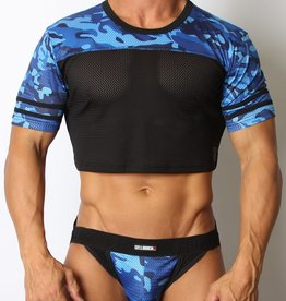 CellBlock13 Foxhole Camo Mesh Crop Top Blue