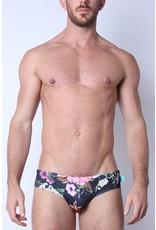 Timoteo Lakeshore Low Rise Swim Brief Floral Black