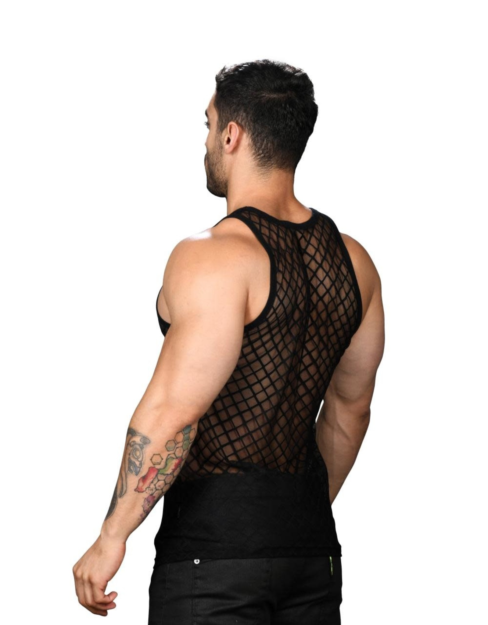 Andrew Christian Lattice Lace Sheer Tank