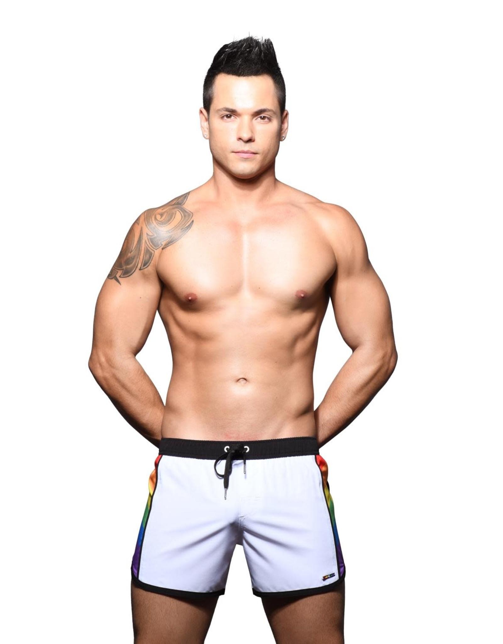 Andrew Christian Pride Active Swim Shorts w/Rainbow Charm