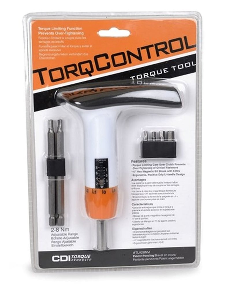 CDI TorqControl Wrench: Adjustable Torque Limiting L-Handle 2-8Nm White