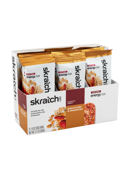 Skratch Labs Anytime Energy Bar, Peanut Butter & Strawberries, 50g Bar, 12-Pack