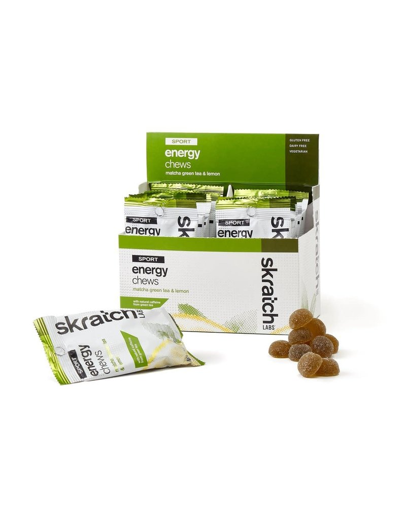 Skratch Labs Sport Energy Chews, Match Green Tea & Lemon, 50g, Single Serving 10-Pack
