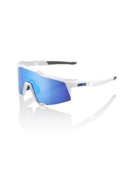 100 Percent Speedcraft - Matte White - HiPER Blue Multilayer Mirror Lens