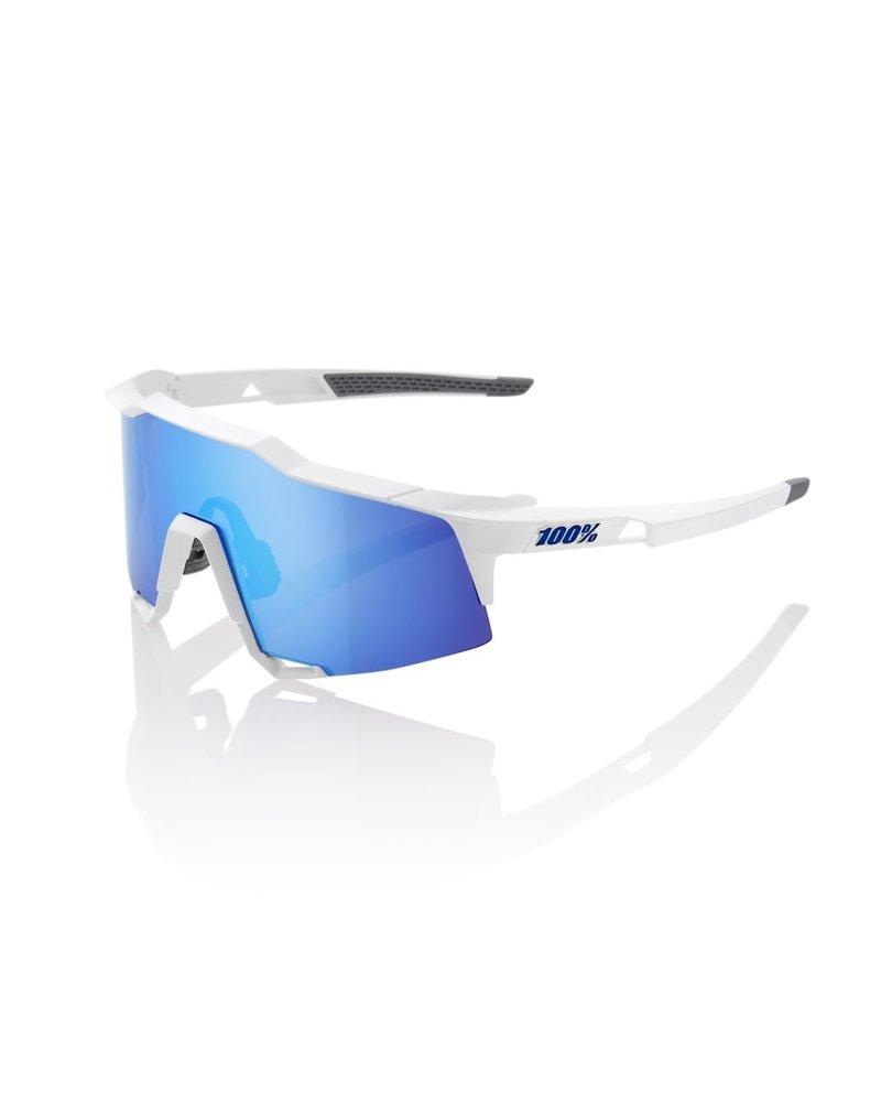 100 Percent Speedcraft - Matte White - HiPER Blue Multilayer Mirror Lens