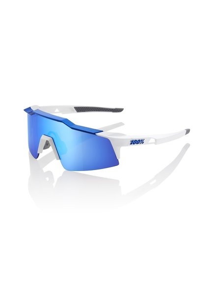 100 Percent Speedcraft SL - Matte White/Metallic Blue - HiPER Blue Multilayer Mirror Lens