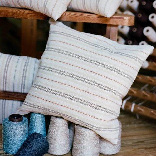 Fireside Throw Pillow Ticking Stripe Rust/Natural 20X20 (4 lbs)