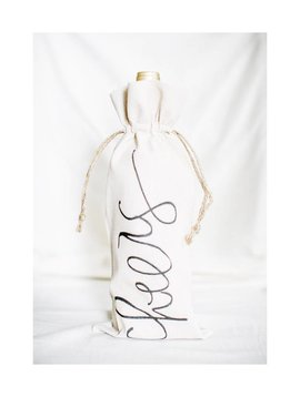 Calligraphy Cheers Wine Bag