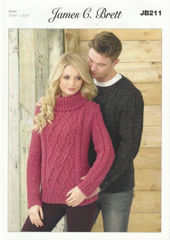 Knitting Pattern James C Brett JB098 Aran Cardigan