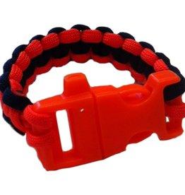 Olguin Designs- Whistle Paracord Bracelet- Orange & Blue- OSFA