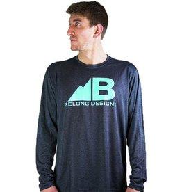 Belong Designs Belong- Tech Logo- Heather Grey with Teal Letters- Long Sleeve
