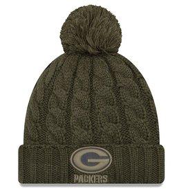 NEW ERA Green Bay Packers Womens New Era NFL 2018 Salute to Service Cuffed Knit Hat