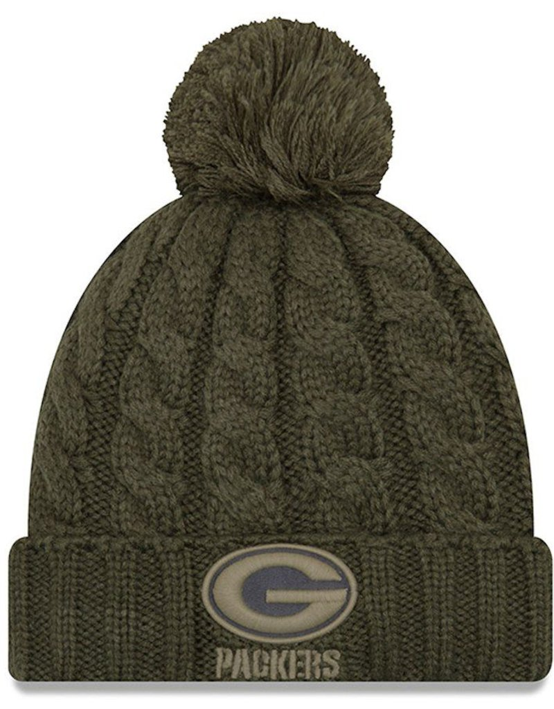 NEW ERA Green Bay Packers Womens New Era NFL 2018 Salute to Service Cuffed Knit  Hat ... 750d56a15