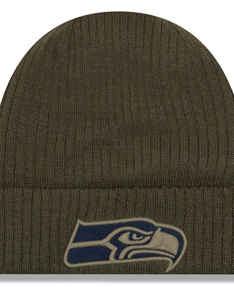 detailed look 259a2 b6e71 NEW ERA Seattle Seahawks New Era NFL 2018 Salute to Service Cuffed Knit Hat