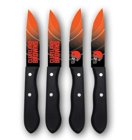 SPORTS VAULT CORP Cleveland Browns 4-Piece Stainless Steel Steak Knife Set