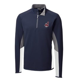 CUTTER & BUCK Cleveland Indians Men's Traverse Colorblock Half Zip Top